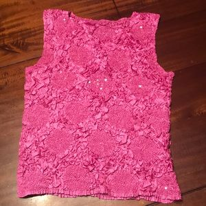 Tops - Stretchable with sequence pink top